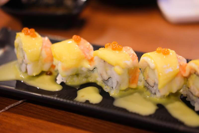 Sushi Fusion restaurant in North Miami, Florida - Combination rolls of shrimp-mango - Nikkei cusine